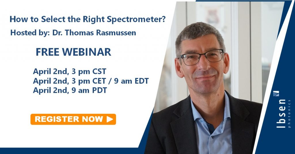 A banner announcing our recent webinar: How to select the right spectrometer on April2nd, 2020