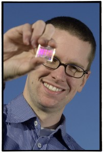 Kristian Buchwald with a fused silica transmission grating