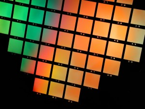 Spectrometer gratings on a wafer